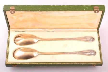 набор для сервировки салата из 2 предметов, серебро, 950 проба, 203.30 г, Франция, 26.3 - 26.4 см, в коробке