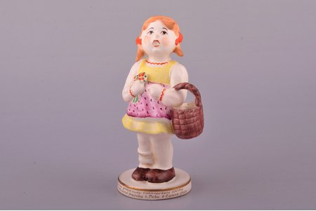 figurine, Little Red Riding Hood, faience, Riga (Latvia), USSR, Riga Ceramics Factory, signed painter's work, handpainted by Tatyana Kuznetsova, 1947, 14.4 cm, restoration of bangs