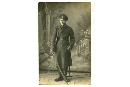 photography, soldier with sword, Russia, beginning of 20th cent., 14x9 cm