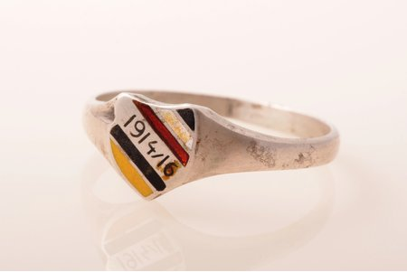 ring, 1914-1916, World War I, silver, 800 standard, ring size 20.5, the beginning of the 20th cent., crack