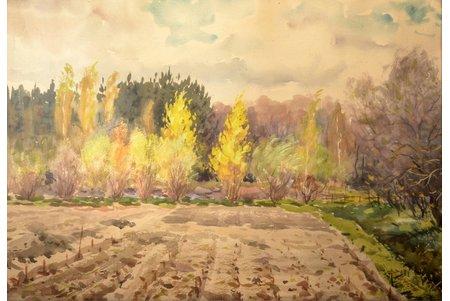 """Brekte Janis (1920-1985), """"Autumn landscape"""", 1955, paper, water colour, 51.5 x 73.5 cm"""