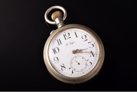 """pocket watch, """"Paul Buhre"""", Russia, metal, 7.3 x 5.75 cm, 57.5 mm, cracks on the dial"""