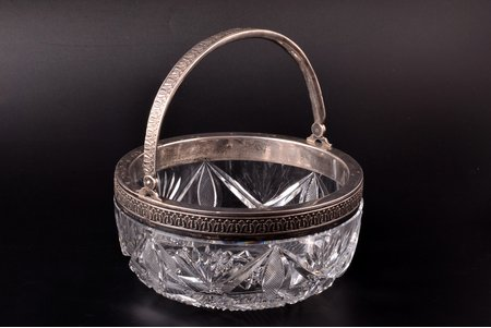 candy-bowl, silver, 84 standart, crystal, 1908-1917, by Pyotr Baskakov, Moscow, Russia, Ø 17 cm, traces of everyday use
