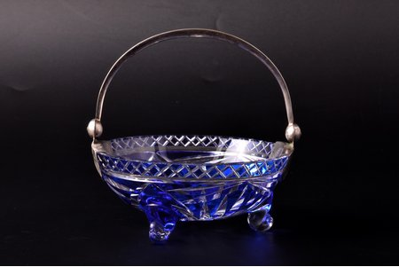 candy-bowl, silver, 875 standart, two-coloured crystal, the 20-30ties of 20th cent., Latvia, Ø 11.5 cm