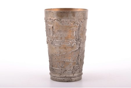 goblet, views of Saint-Petersburg, tin, Russia, h 9.2 cm