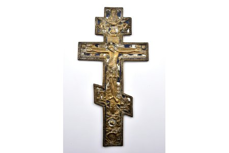cross, The Crucifixion of Christ, copper alloy, 2-color enamel, Russia, the 2nd half of the 19th cent., 36.8 x 18.7 x 0.7 cm, 850 g.