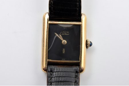 "wristwatch, ""Cartier"", mechanical, silver, gold plated, 925 standart, total weight (with strap) 21.95 g, 2.8 x 2.1 cm"