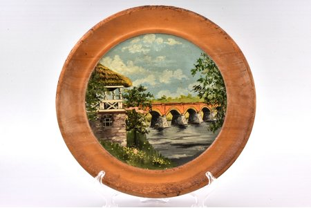 "настенная тарелка, ""Кулдига"", живопись, дерево, Латвия, Ø 27.4 см"