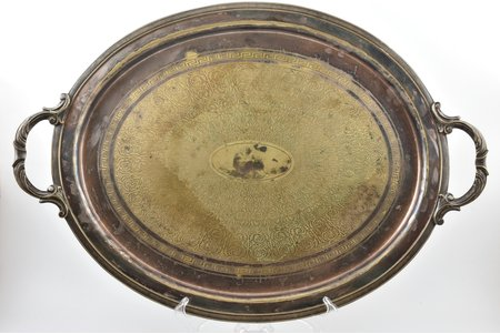 tray, Br. Henneberg, Warszawa, silver plated, Russia, Congress Poland, 1883-1896, 61.5 x 42.3 cm