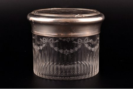 case, silver, 950 standart, glass, weight of silver lid 132.65g, France, Ø 10.8 cm, h 8.7 cm