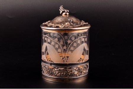 case, silver, 950 standart, floral motif, gilding, eweight of silver lid 52.75g, France, Ø 8.5 cm, h 12 cm