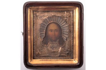 icon, Jesus Christ Pantocrator, in icon case, board, silver, painting, 84 standart, Russia, 1830, 17.3 x 15.2 x 5.4 / 13.5 x 10.7 x 1.8 cm