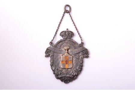 "badge, Evangelical Lutheran Church, A.M.D.G., silver, enamel, Latvia, 40.7 x 32.4 mm, 13 g, ""Vilhelms Fridrichs Müller"" manufactory"