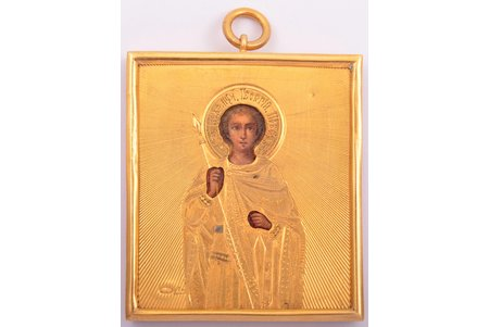 icon, Holy Great Martyr George, silver, guilding, painted on zinc, 84 standart, Russia, 1896-1904, 7.2 x 5.9 x 0.9 cm, 25.10 g.