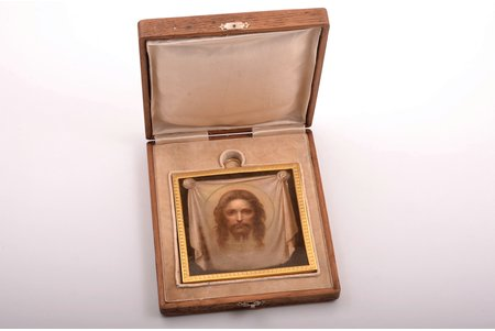 icon, Savior-Not-Made-by-Hands, silver, guilding, painted on zinc, 84 standart, Russia, 1908-1917, 11.7 x 11.7 x 1.4 cm, weight of silver frame 42.25 g, in a box