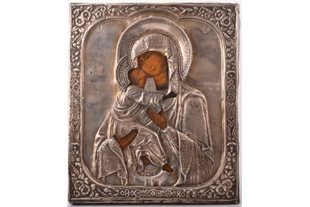 icon, Our Lady of Vladimir, board, silver, painting, 84 standart, Russia, the beginning of the 20th cent., 31.5 x 26.7 x 3.2 cm, 256.45 g.