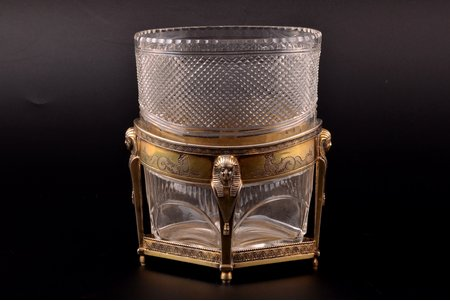a vase, silver, 84 standart, Egyptian motif, engraving, gilding, glass, 1845, weight without glass insert 212.40g, Moscow, Russia, 14.1 cm
