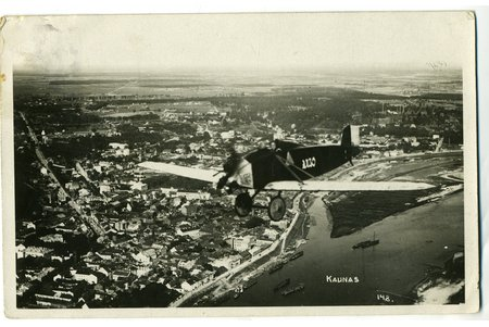 photography, military aircraft above Kaunas, Lithuania, 20-30ties of 20th cent., 13,8x8,8 cm