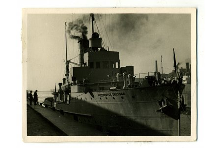 "photography, warship ""Prezidentos Smetona"", Memel, Lithuania, 20-30ties of 20th cent., 8,4x6,4 cm"