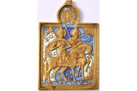 икона, Благоверные князья Борис и Глеб, медный сплав, 3-цветная эмаль, Российская империя, конец 19-го века, 13.3 x 8.9 x 0.6 см, 315.30 г.