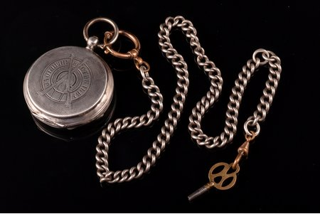 "pocket watch, ""Telescope"", ""For excellent shooting"", Russia, Switzerland, silver, 84, 875 standart, total weight of item without chain 78 g, 5.8 x 4.9 cm, 49 mm, watch chain - silver/metal, 84 standard, 47.10 g"