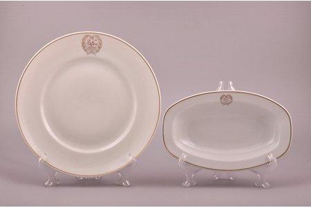 set of 2 plates, 12th Bauska Infantry Regiment, porcelain, M.S. Kuznetsov manufactory, Riga (Latvia), 1937-1940, Ø 24.7 cm / 22.1 x 13.7 cm, second grade