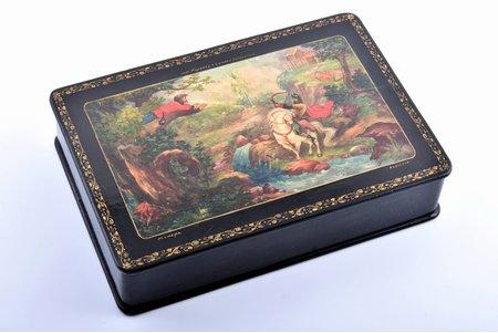 lādīte, Iļja Muromietis un Solovejs Laupītājs, Mstera, mākslinieks Sņatkovs, lakas miniatūra, PSRS, 13.7 x 20.2 x 4.6 cm