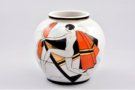 vase, Dance, Art-Deco, porcelain, Burtnieks manufactory, sketch by Sigismunds Vidbergs, Riga (Latvia), 1929-1939, 9.5 cm