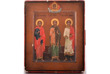 icon, Holy Martyrs and Confessors Gurias, Samonas and Abibus, board, painting, guilding, Russia, the border of the 19th and the 20th centuries, 13.2 x 11.2 x 1.5 cm