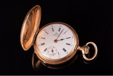 "pocket watch, ""Borel Neuchatel"", Russia, Switzerland, gold, 56, 14 K standart, 27.70 g, 4.1 x 3.3 cm, 33 mm, maintenance service is performed"