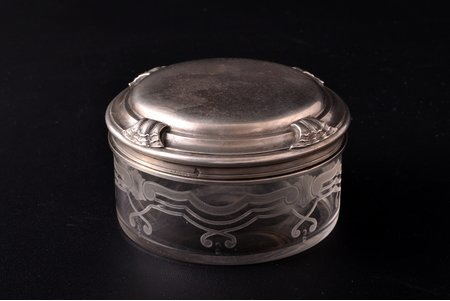case, silver, 950 standart, gilding, glass, weight of silver lid 70.80g, France, Ø 7.8 cm