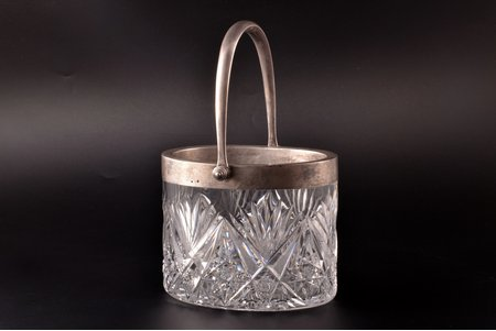 candy-bowl, silver, 84 standart, crystal, 1908-1917, Second Artistic artel, St. Petersburg, Russia, 15.5 x 15.2 cm, h (with handle) 24.4 cm, chips