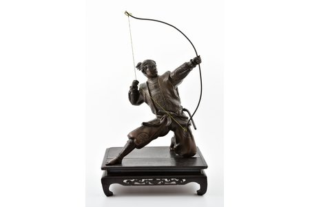 figurine, Archer, on wooden base, bronze, h 37 cm, weight (without base) 3800 g., Japan, the 19th cent., missing arrow and index finger fragment
