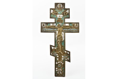 cross, The Crucifixion of Christ, copper alloy, 2-color enamel, Russia, the beginning of the 20th cent., 36.5 x 19.2 x 0.9 cm, 1183.30 g.