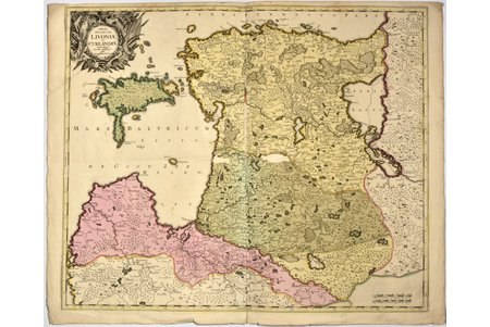 map, Livonia and Kurland (Gerard Valck 1652-1726), Russia, ~1700, 52 x 64 cm, glued on the backside