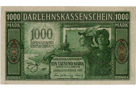 1000 marks, banknote, Ost, Kowno, 1918, Latvia, Lithuania, XF