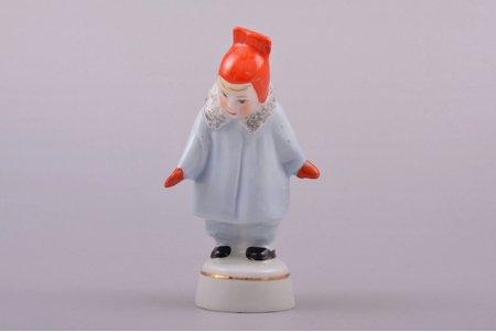 figurine, A girl wearing coat (Winter), porcelain, Riga (Latvia), USSR, Riga porcelain factory, molder - Rimma Pancehovskaya, the 60ies of 20th cent., 9.6 cm, top grade