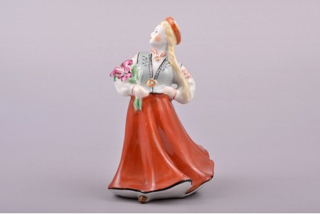 figurine, Girl in traditional costume with flowers, porcelain, Riga (Latvia), USSR, Riga porcelain factory, the 50ies of 20th cent., 12.2 cm, top grade