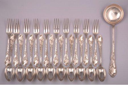 """flatware set, 21 item: 10 spoons, 10 forks, ladle, """"Boulenger"""", silver plated, France, 33.3 / 21.6 / 21.5 cm"""
