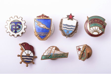 set, 7 badges of Voluntary Sports Societies, USSR
