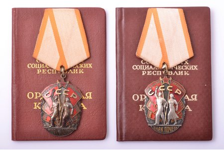 "set, 2 orders ""Badge of Honour"" with documents, № 267914, № 908733, USSR, 1965-1974"
