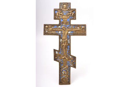 cross, The Crucifixion of Christ, copper alloy, 2-color enamel, Russia, the beginning of the 20th cent., 37.7 x 19.5 x 0.7 cm, 1058.70 g.