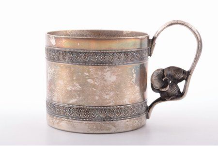 tea glass-holder, Plewkiewicz w Warszawie, silver plated, Russia, Congress Poland, the border of the 19th and the 20th centuries, Ø (inside) = 6.5 cm, h = 6.7 cm