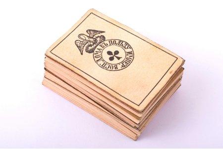 spēļu kāršu komplekts, (miniatūrs izmērs), Imperatora bāreņu nama labā, 20. gs. sākums, 3.4 x 2.2 cm, pilns komplekts, 52 kārtis