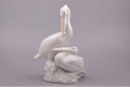 figurine, Pelicans, porcelain, Riga (Latvia), sculpture's work, molder - Nikolay Ivanovich Atyunin, h 24 cm, defect of beak