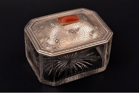 case, silver, semi-precious stones, crystal, total weight of the lid 136.35g, 9 x 12.9 x 10.2 cm