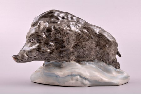 figurine, Wild boar, nonstandard hand painting, porcelain, Riga (Latvia), USSR, Riga porcelain factory, the 50ies of 20th cent., h 13.4 cm, third grade
