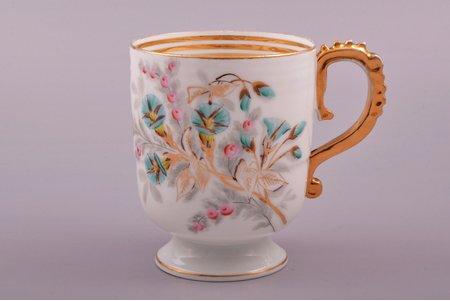 krūze, porcelāns, M.S. Kuzņecova rūpnīca, Rīga (Latvija), Krievijas impērija, 1872-1887 g., h 10.5 cm