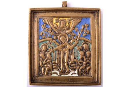 icon, Mother of God Joy of All Who Sorrow, copper alloy, 4-color enamel, by Rodion Khrustalev, Russia, the end of the 19th century, 6.3 x 5.4 x 0.5 cm