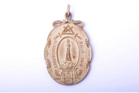 "medal, Freemason lodge ""Hanseatentreue"", Riga-1918, bronze, Latvia, Russia, beginning of 20th cent., 68.6 x 44.8 mm"